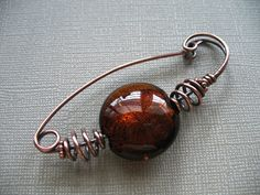 Carmel Swirl Copper Scarf Pin or Hat Pin or Shawl Pin