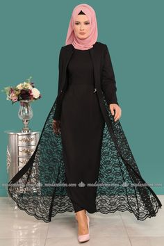 moda selvim Yeleği Dantel 2 Li Kombin MSW8642-S Siyah Abaya Fashion, Muslim Fashion, Indian Fashion, Fashion Dresses, Hijab Style Dress, Dress Indian Style, Pakistani Dresses Casual, Casual Dresses, Dress Design Patterns
