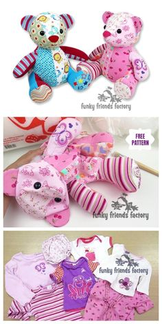 DIY Recycled Clothes Memory Bear Free Sew Patterns - DIY Magazine - Sewing patterns free - Source by salty_candy clothes Sewing Toys, Free Sewing, Sewing Crafts, Sewing Stuffed Animals, Stuffed Animal Patterns, Sewing Projects For Beginners, Sewing Tutorials, Sewing Hacks, Diaper Bag Tutorials