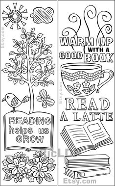 Coloring Bookmarks on Books and Reading Coloring Book Art, Cartoon Coloring Pages, Coloring Pages To Print, Colouring Pages, Beautiful Flower Drawings, Free Printable Bookmarks, Kids Book Club, Graffiti Drawing, Art Drawings For Kids