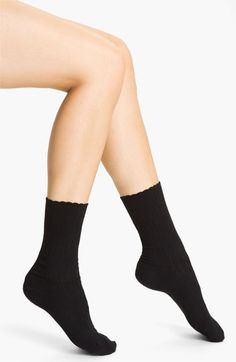 great socks to wear with heels - Hue Scalloped Pointelle Socks (3 for $16)