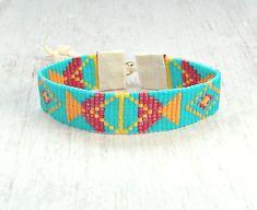 Blue Bead Bracelet - Boho Jewelry - Geometric Bracelet - Womens Jewelry - Gifts For Her - Seed Bead Bracelet - Tribal Bracelet