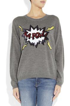 Fun graphic sweater.  Markus Lupfer Kapow! sequined merino wool sweater