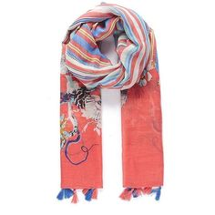 Coral stripes fringe scarf (¥3,000) ❤ liked on Polyvore featuring accessories, scarves, striped shawl, striped scarves, coral scarves, fringe shawl and fringe scarves