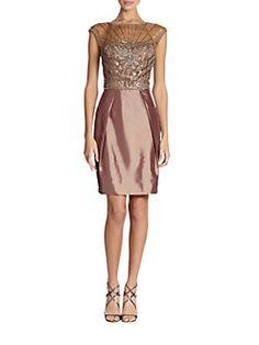Sue Wong - Illusion Yoke Beaded Cocktail Dress