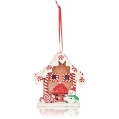 Kurt S Adler Xmas LED Gingerbread House Ornament (€17) ❤ liked on Polyvore featuring home, home decor, holiday decorations, no color, holiday ornament, ribbon christmas ornaments, christmas home decor, holiday decor and gingerbread ornaments