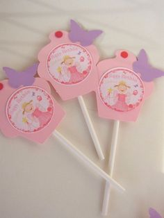 Pinkalicious Birthday Party Cupcake Toppers Pink Cupcakes With Butterflies 8 #BirthdayChild