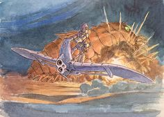 Early History of Nausicaa ===== Miyazaki was fascinated with Beauty & the Beast. This shifted to a princes in a castle with a crazy father, connected with the concept of the Windrider, & eventually became Nausicaa ===== Miyazaki Notes: I drew this picture before I began serializing 'Nausicaa of the Valley of the Wind'. I already had the basics of the story in mind, but I was still working out the details of the artwork.