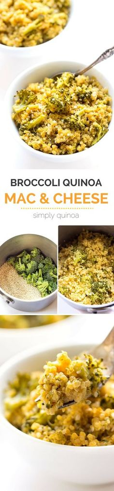 QUINOA MAC AND CHEESE with broccoli -- the perfect dinner recipe when you think you have no time to cook. Takes just one pot, takes less than 20 minutes AND it only uses 5 ingredients! || 262 calories, 7 WW points
