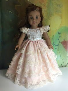 Comes with rhinestone princess crown. OOAK custom made for 18 inch dolls. American Girl Doll Costumes, My American Girl Doll, American Girl Crafts, American Doll Clothes, Sewing Doll Clothes, Girl Doll Clothes, Girl Dolls, Ag Dolls, Poupées Our Generation