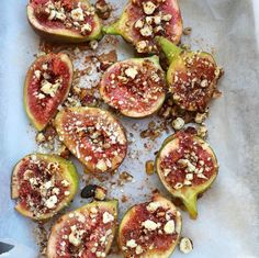 Caramelised Figs with Hazelnut Crunch Topping