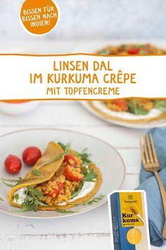 Die indische Spezialität neu erfunden .. verfeinert mit ätherischen Bio Gewürzölen! Die müsst ihr ausprobieren! #kurkuma #dal #linsendal #crepe #pfannkuchen #pikant #sonnentor #tumeric #gewürzöl #ätherischeöle #rezeptidee #vegetarisch #gewürze #indisch #indien Creme, Latte, Tacos, Ethnic Recipes, Food, Golden Milk, Pancakes, Lenses, Turmeric