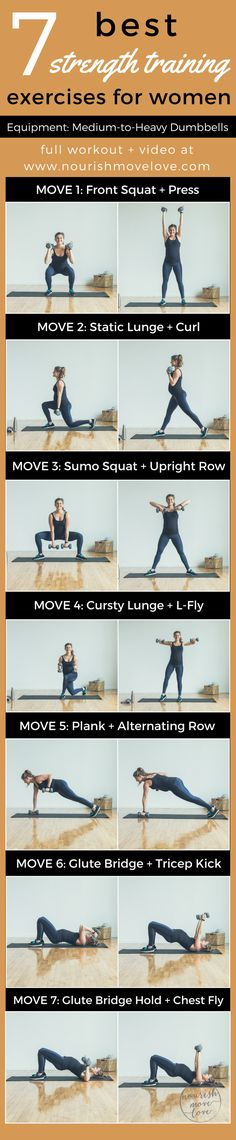 A complete 30-minute workout challenge routine made up of the 7 best strength training exercises for women. Target multiple muscle groups, increase strength, and build muscle. Perfect for recovering from injury, prenatal workouts/pregnant/pregnancy workouts, and mommy workouts. Squat, press, lunge, curl, row, fly, glute bridge, and tricep kick your way to a new body. Perfect for getting lean and toned beach body for this summer!