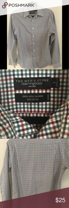 Bloomingdales mens button down shirt Great condition/ no issues Size says small but I'm a medium and it fits me Bloomingdale's Shirts Casual Button Down Shirts