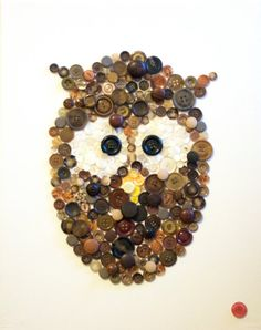 Handmade Button Zoo Canvas, Animal art, Nursery Art, Button Picture, Wonderfully Worn Lion, Owl
