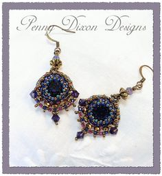 Penny Dixon Designs: Chaton Bracelet and Earrings Seed Bead Jewelry, Crystal Jewelry, Beaded Jewelry, Seed Beads, Handmade Jewelry Tutorials, Beading Tutorials, Earring Tutorial, Jewelry Patterns, Beading Patterns