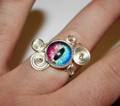 Eye Ring - Adjustable Steampunk Wire Wrap Rainbow Spectrum Dragon Eye Ring $25.00
