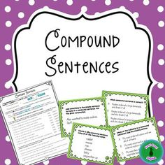 Give your students lots of practice with compound sentences in a variety of ways to help this concept really stick!Download includes:* Two pages of explanation/practice activities to learn how to form compound sentences, how to distinguish them from simple sentences (such as when there is one subject and two predicates), when/where to use a comma, which conjunction is needed (and, but, or, so), and how to avoid repetition when joining sentences by using pronouns.* Hands-on activity to…