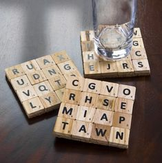 Most of us have played the scrabble board game and probably have at least one set we are not using. The tiles can be used to make Scrabble tile crafts. Scrabble Coasters, Scrabble Tile Crafts, Tile Coasters, Scrabble Board, Scrabble Letters, Custom Coasters, Glass Coasters, Drink Coasters, Recycling