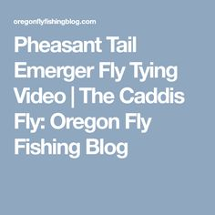 Pheasant Tail Emerger Fly Tying Video | The Caddis Fly: Oregon Fly Fishing Blog