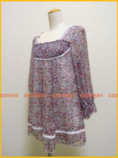 Persodea Floral Chiffon Tunic One-piece Size:L KAWAII CUTE FREE SHIPPING #Persodea #Tunic #Casual