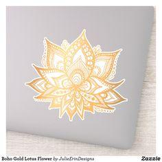 Boho Gold Lotus Flower Sticker