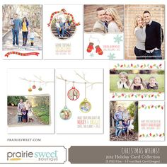 Christmas Whimsy Holiday Card Set - Photoshop Templates for Photographers - Set of 8 PSD Files - CS6002. $36.00, via Etsy.