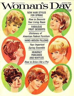 March 1966 New Hair Styles for Spring Retro Makeup, Vintage Makeup, Vintage Beauty, Makeup Ads, Vintage Fashion, Women's Day Magazine, Hair Magazine, Magazine Rack, Vintage Hairstyles Tutorial