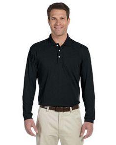 Harriton 5.6 oz. Easy Blend™ Long-Sleeve Polo M265L BLACK