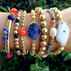 Set By Vila Veloni Orange Turkish Eye Bracelets