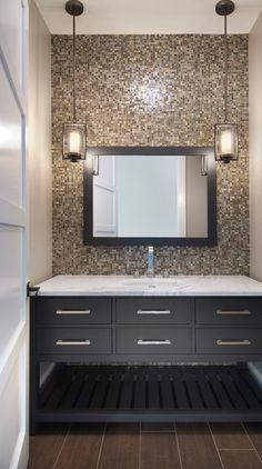 Tile the entire wall behind the vanity