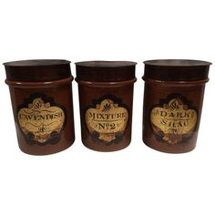 Mercantile Antique Tobacco Jars - Set of 3 ($1,800) ❤ liked on Polyvore featuring home, kitchen & dining, food storage containers, bottles & jars & jugs, lidded jar, red canisters, red jar, red stoneware and red cannisters