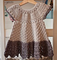 DK - Ravelry: Pima Cotton Dress pattern by Mon Petit ViolonCrochet dress PATTERN - Pima Cotton Dress (sizes up to 6 years) Crochet Girls, Crochet Baby Clothes, Crochet For Kids, Toddler Dress, Baby Dress, The Dress, New Dress Pattern, Dress Patterns, Crochet Patterns