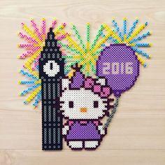 Hello Kitty Happy New Year perler beads by kittybeads