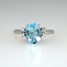 Vintage Pretty 2.5ct Blue Topaz and Diamond Ring 14k  SOLD: 10/6/14  Antique and Estate Jewelry | JewelryFinds com