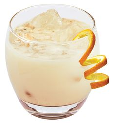 Snow Cap: 3 oz. Maker's Mark Bourbon, 2 oz. orange liqueur, 3 oz. heavy cream and 2 tsp. powdered sugar. Stir ingredients together  in shaker, then pour over  crushed ice into a small  brandy snifter. Garnish with  nutmeg and orange twist.