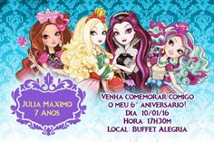 Convite digital personalizado Ever After High 001