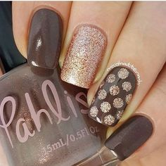 Grey and gold manicure fall acrylic nails colors art designs