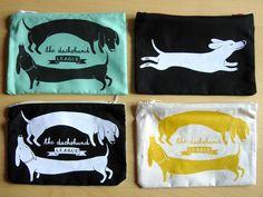 The Dachshund League TWO DOGS Purse / White on Black silkscreen