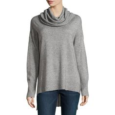 Neiman Marcus Oversized Cowl-Neck High-Low Sweater ($132) ❤ liked on Polyvore featuring tops, sweaters, blue, oversized cowl neck sweater, pullover sweater, long sleeve pullover, long sleeve tops and blue top