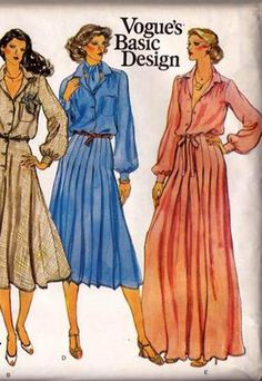 Vogue Basic Design 1923 Dress Maxi Pleated Skirt Pattern 1970s Vintage Sewing Pattern Size 14 Bust 36 inches UNCUT Factory Folded