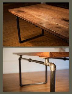 Modern Black Walnut Table with metal base made of industrial pipe