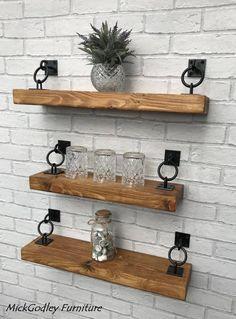 Rustic Industrial Handmade Floating Shelves Shelf Solid Wood – HOME – Living Room. Rustic Industrial, Industrial Furniture, Diy Furniture, Floating Shelves Diy, Rustic Shelves, Glass Shelves, Floating Shelf Under Tv, Industrial Floating Shelves, Rustic Bathroom Shelves