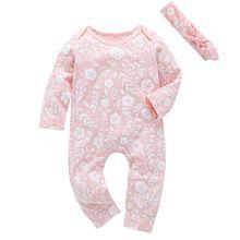 2017 herfst stijl baby meisjes rompertjes Lange mouw roze een stuk romper + Hoofdband 2 stks schattige baby kleding jumpsuit Infant outfits(China)