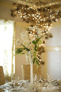 White/frosted finishes take the eiffel tower vase to a whole nother level. Tall Vase Centerpieces, Vase Arrangements, Wedding Table Centerpieces, Reception Decorations, Inexpensive Centerpieces, Wedding Prep, Spring Wedding, Wedding Planning, Dream Wedding