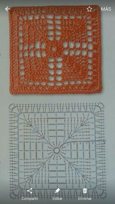 How to Crochet a Solid Granny Square Patterns and motifs: Crochete. How to Crochet a Solid Granny Square Patterns and motifs: Crocheted motif no. Crochet Motif Patterns, Crochet Blocks, Granny Square Crochet Pattern, Crochet Diagram, Crochet Chart, Crochet Squares, Crochet Granny, Filet Crochet, Crochet Designs