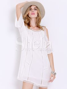 White Short Sleeve Off The Shoulder With Lace Dress 17.99