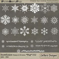 Snowflake Brushes & Stamps *Big* 01 [Multiple Licenses] By Laitha's Designs