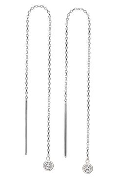 Long Sterling Silver Threader Earrings with Swarovski Crystals - DebraShepard.com