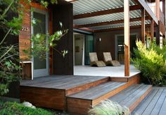 Ipe deck – front porch – modern prefab home – corrugated metal